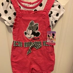Minnie Mouse pink polka dot overall shorts set 4t